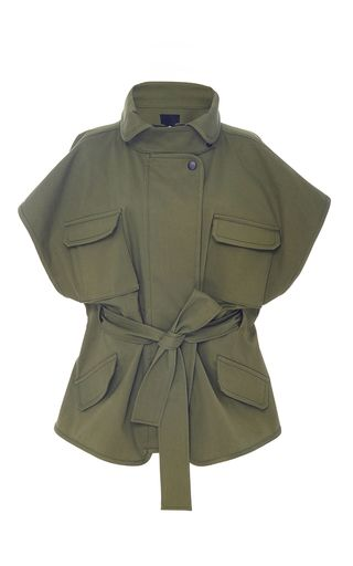 This **Marissa Webb** Jayden Flare Military Jacket is crafted of Italian coated canvas, features draped sleeves and patch pockets at the chest and hips.