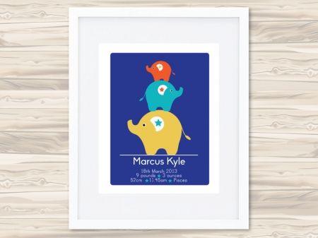 Personalised Birth Prints (Elephants) - Boys - hardtofind.