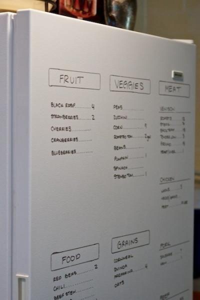 écrire sur le frigo ce qu'il y a dedans