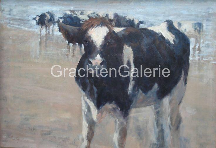 Koeien aan het strand | Corry Kooy | Schilderij | Landscape | Art