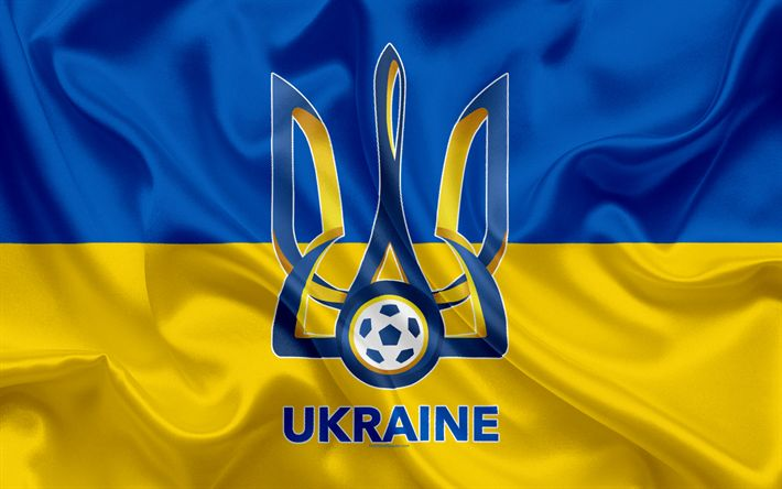 Download wallpapers Ukraine national football team, emblem, logo, football federation, flag, Europe, Ukrainian flag, football, World Cup
