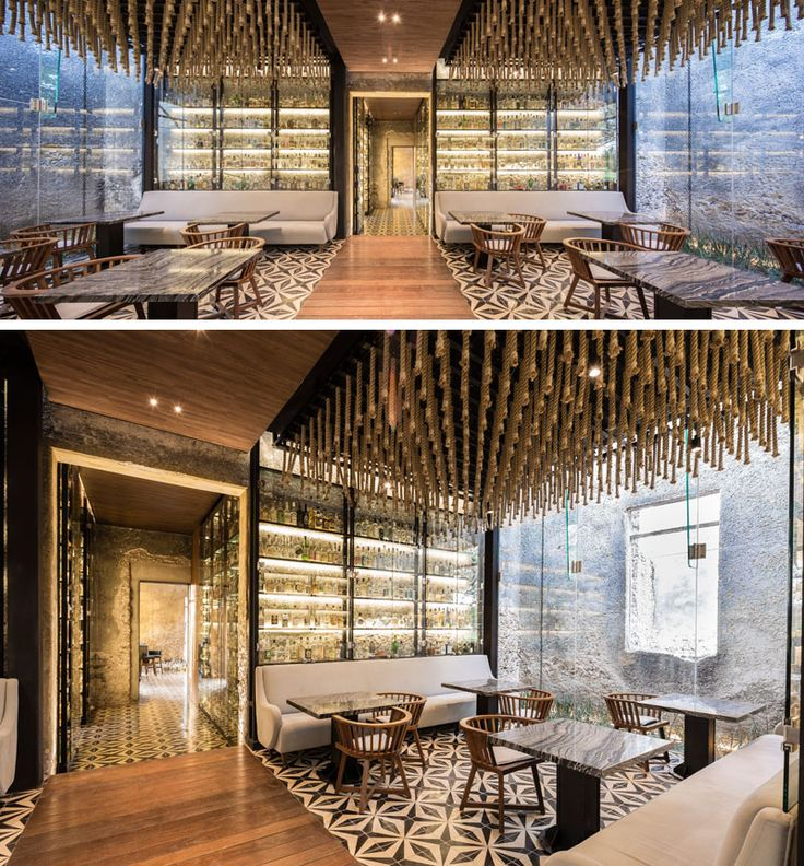 In the main dining area of this modern restaurant, henequén (agave) strings produced by the last rope factory in Yucatan, hang from the ceiling to help with acoustics.