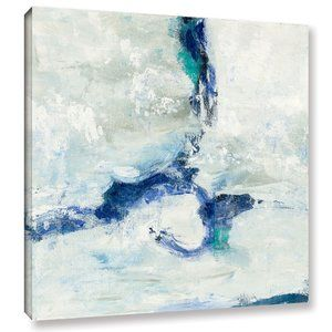 White and Blue Graphic Art on Wrapped Canvas