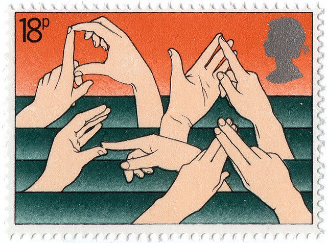 """Sign language stamp - spells out """"deaf"""" in British Sign Language according to another pinner.  (Thank you, @Karen Macy!)"""