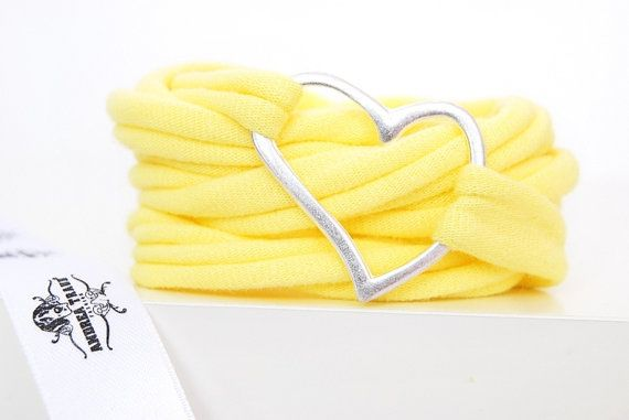 Bracelet wrapped fabric pastel yellow and by AndreaTraubFASHION, €9.95