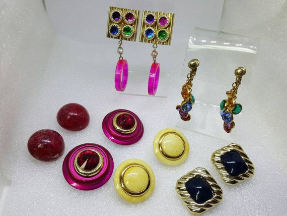 Pinks and Blues Clip Earrings Retro Go Go Mad Men 6 pair lot Large Plus Size #jewellery #EtsyGifts
