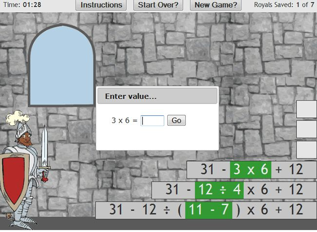 This innovative game requires students to save seven members of a Royal Family from prison by using their order of operation skills to build stairways leading to their secret cells. Choose your character first and then begin solving the order of operations equation by clicking on the first number, then its operator, followed by the second number.