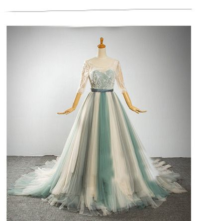 half sleeves wedding dress,tulle wedding dress, unique wedding dress,scoop…
