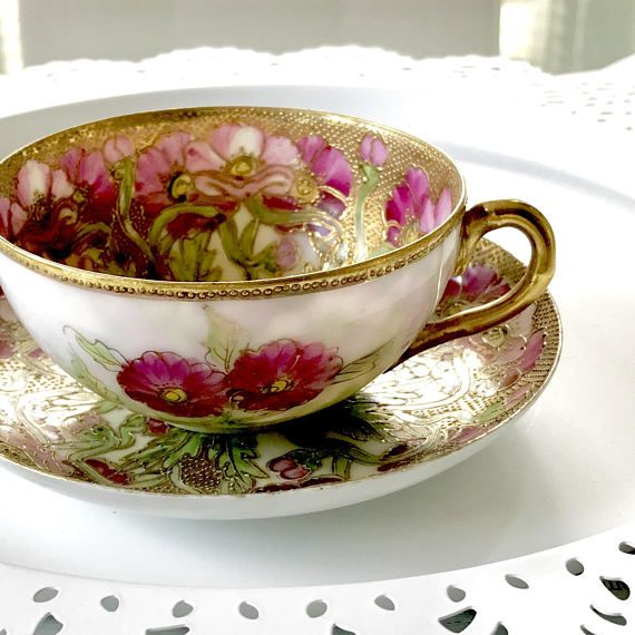 Exquisite Japanese Tea Cup and Saucer Set, Hand Painted Porcelain Floral 2/ Gold Teacup, Artist Signed, Moriage, circa 1920s