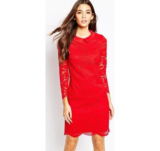 Ted Baker - Ameera - Vestito in pizzo con fondo smerlato - Rosso Xmid asos rosso Pizzo