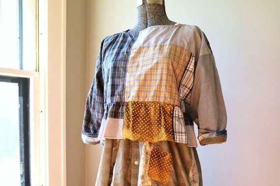 Medium Large, Cropped Top Blouse, Artsy Loose Fit Clothing, Lagenlook Clothing, Upcycled Clothing, Original Design Modern Handmade Clothing