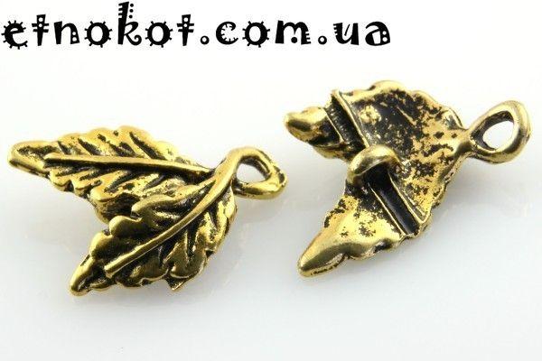 Коннектор металлический Листья, Антикварное золото, 16x10мм