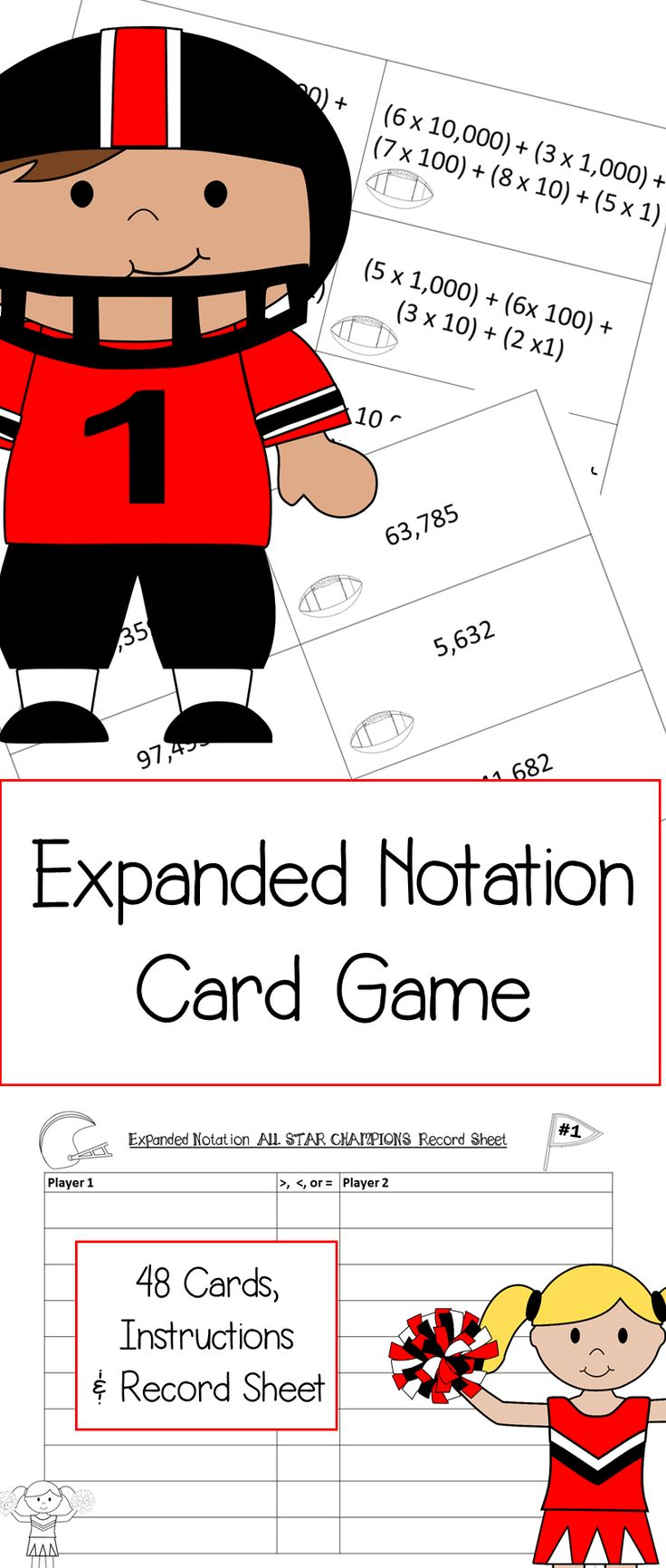Super fun football themed game to practice expanded notation!