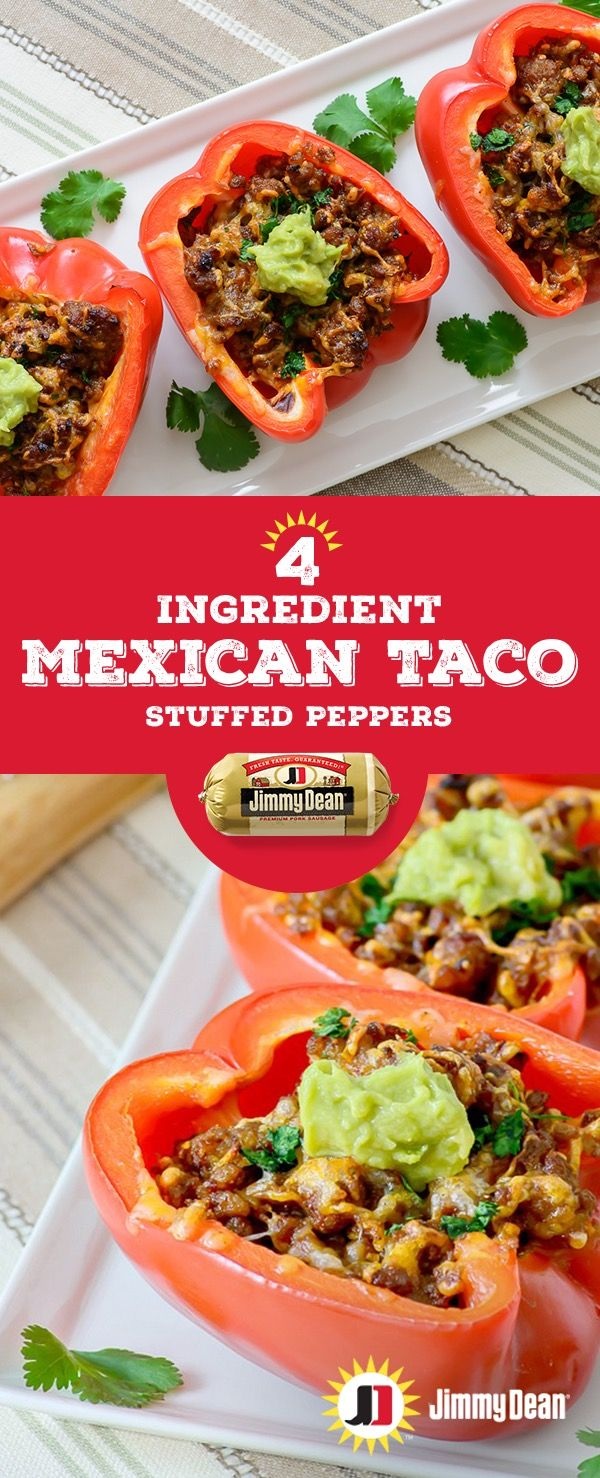 This easy sausage recipe is sure to satisfy even the pickiest of eaters with only four ingredients. Cut the peppers in half, stuff them with cooked Jimmy Dean Premium Pork Sausage, add cheese, throw more flavor in with taco seasoning and you've got sausage stuffed peppers.