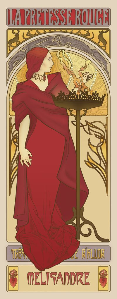 The Song of Fire and Ice Illustrations, Art Nouveau. Melisandre, The Red Priestess