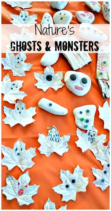 Make ghosts and monsters with nature bits.