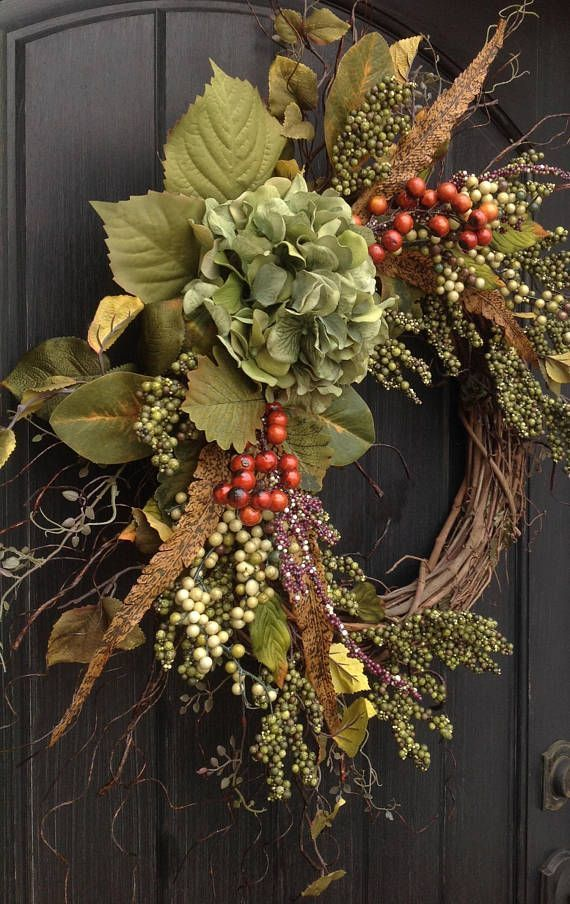 Fall Wreath Thanksgiving Wreath Green Berry Branches
