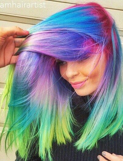 Purple green rainbow dyed hair color @glamhairartist
