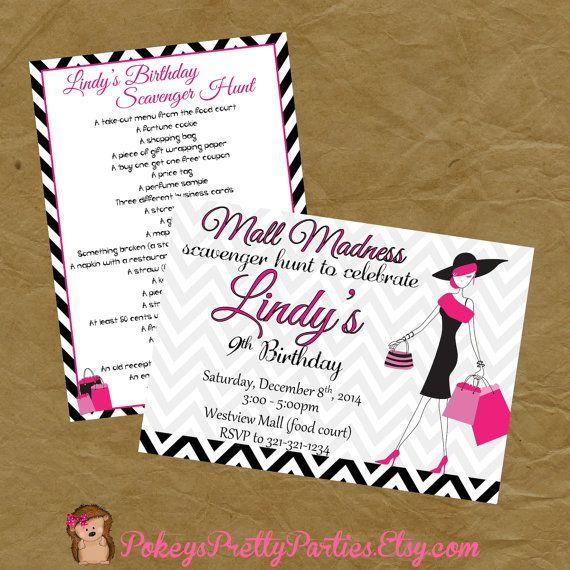 Mall Scavenger Hunt Birthday Party Invitation Invite 2B