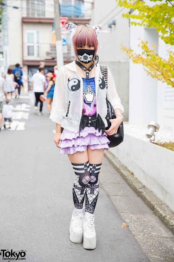 We ran into indie Japanese #fashion designer Senanan on the street in #Harajuku. She was wearing fashion from her own brand QissQill - along with an ANAP skirt, a tutuHA winged belt, Yin-Yang print GLAD NEWS items, and YRU platforms.