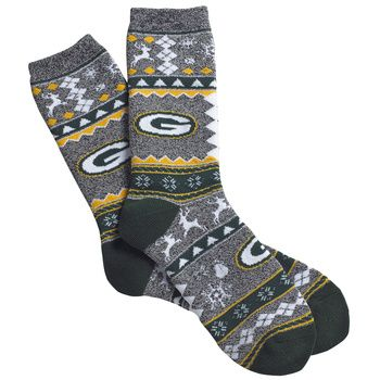 Green Bay Packer Men's Ugly Christmas Sock at the Packers Pro Shop http://www.packersproshop.com/sku/1401113186/