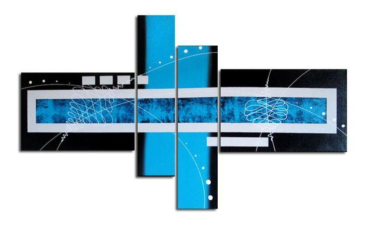 Lukisan Abstrak Biru Besar 4 Panel