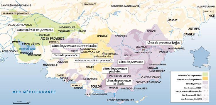 Entre la Méditerranée et les Alpes, le vignoble provençal s'étend d'Ouest en Est sur près de 200 km principalement dans les départements du Var et des Bouches-du-Rhône (plus une enclave dans les Alpes-Maritimes). Source : CIVP