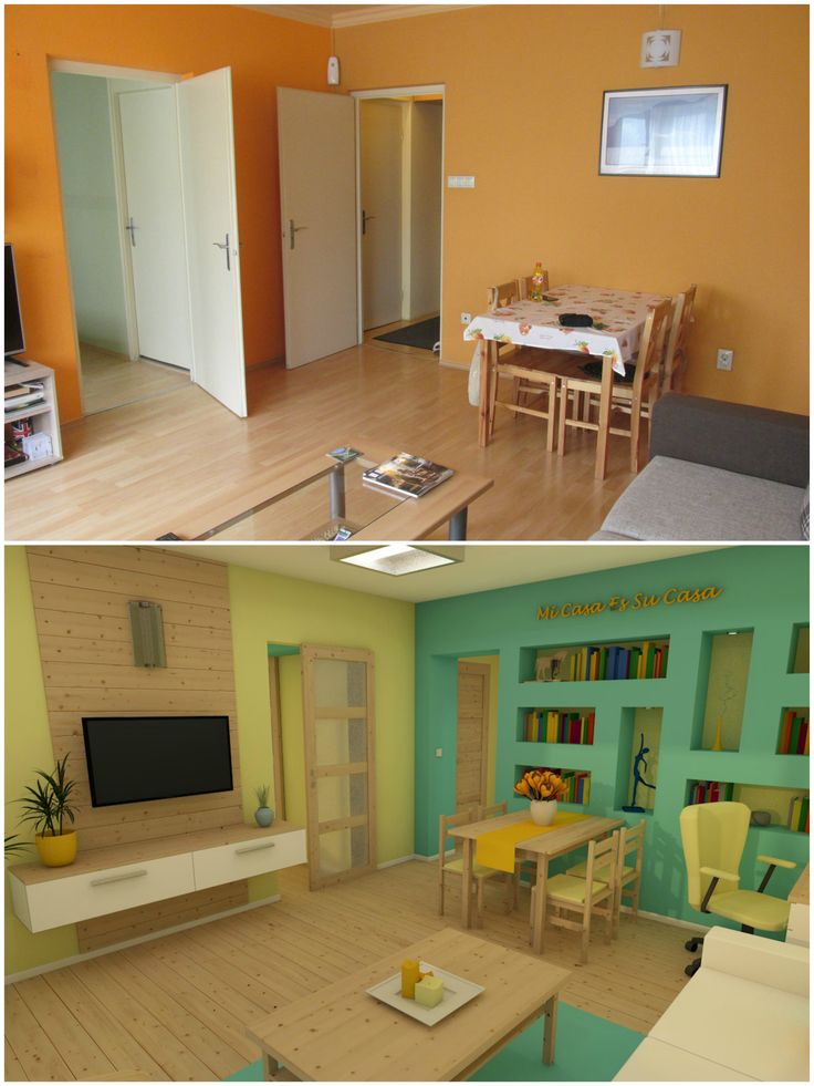 nappali előtte-utána (living room before and after)