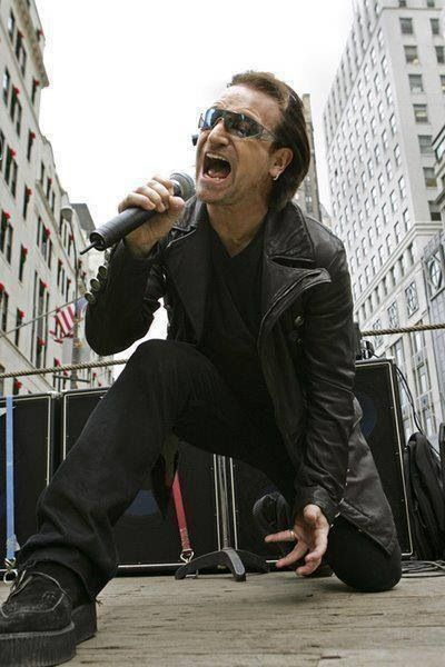 Bono. Quite possibly the world's coolest musician ever, oh and The Edge, he's pretty cool too.