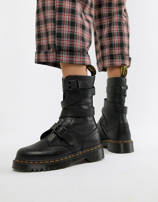 4744d1120c59 Dr Martens Bevan Black Leather Strappy Chunky Flat Ankle Boots | ASOS