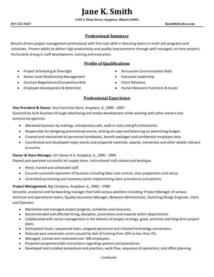 resume leadership skills example sample executive samples professional