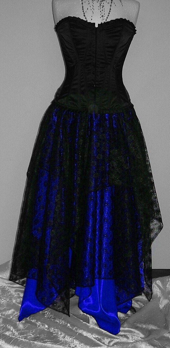 Womens pixie jupe noir bleu long maxi asymétrique par darkestdreams