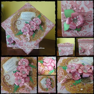 Handmade roses & flowers with blings,pearls and dollies ..it's not a card ... it's a box , covered using folk paper