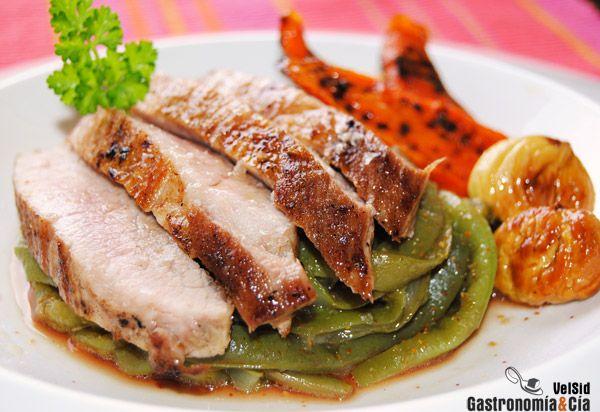 Secreto de cerdo con verduras y castañas.☆☆