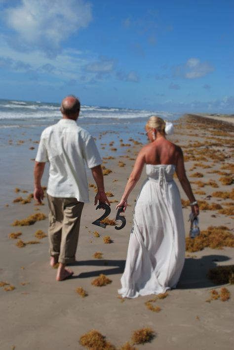 25th anniversary beach wedding vow renewal