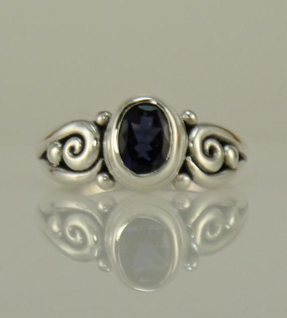 R1092 Sterling Silver Iolite Ring One of a Kind