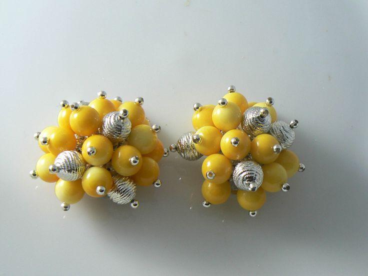 Huge Fun Yellow Plastic Clip Earrings - Vintage Lane Jewelry - 1