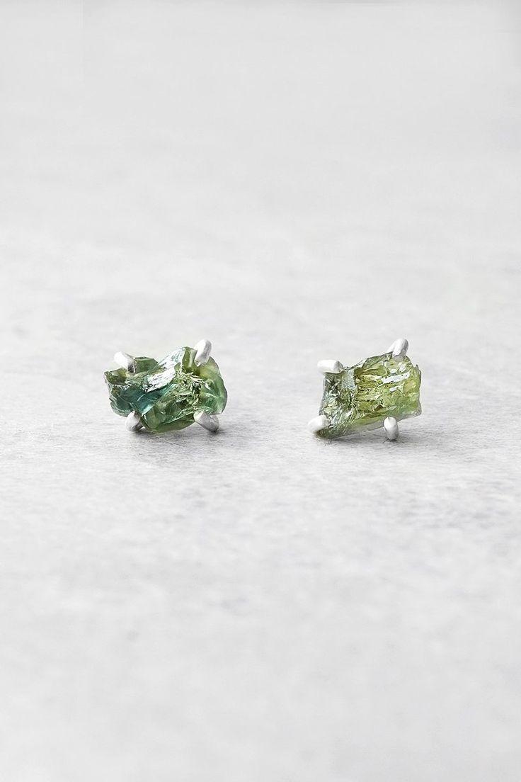 Precious Raw Green Emerald Sapphire Gemstone Stud Earrings - Rvati