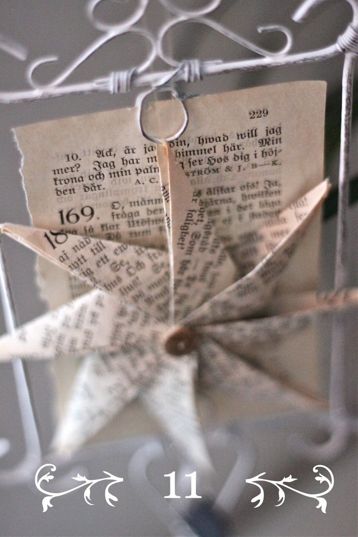 Folded star using vintage book page