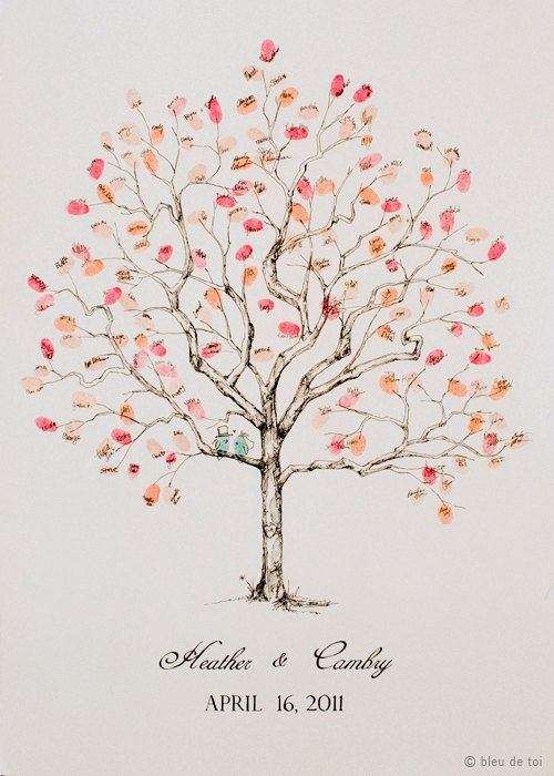 Wedding Guest Book Alternative Fingerprint tree by bleudetoi