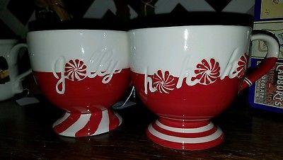 "2 Starbucks Christmas Mug ""Ho Ho Ho"" Candy Cane Pedestal Footed 12oz - 2007 NWOB"