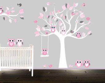 rose et gris vinyle autocollant arbre chambre de b b. Black Bedroom Furniture Sets. Home Design Ideas