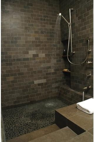 Love the idea of pebble floor for shower/bath combo like this. As big as both my bathrooms, though. HA!
