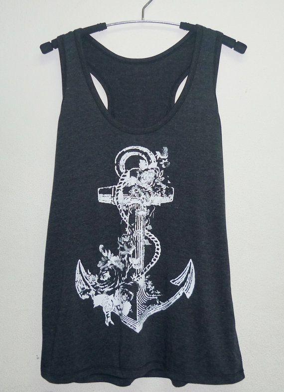 Retro Anchor tank top/ Cool tank tops size S/M/L/XL beach tank/ women singlet/ shirt/ sleeveless/ tops/ tank tops