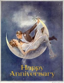 1920's Couple in Crescent Moon - Anniversary Greeting Card (6 Cards Individually Bagged W/ Envelopes and Header)