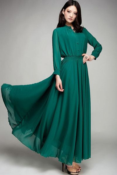 Modest 3/4 length sleeve jade maxi dress with front tie | Mode-sty – Mode-sty