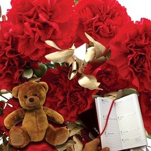 Red and Gold Carnations 20 Stems, Teddy and Diary Fantastic Festive CarnationsSend this lovely gift delivered with a personalised message card and free flower food! Personalise your message at the checkout basket. Orders must arrive by Sunday 18th De http://www.MightGet.com/january-2017-11/red-and-gold-carnations-20-stems-teddy-and-diary.asp