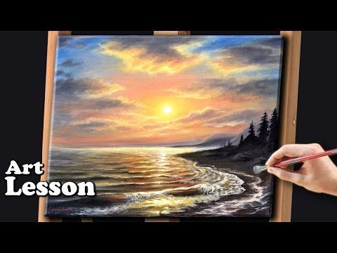Acrylic Seascape Techniques , How to Paint Clouds Paint a Wave, in acrylics painting, clive5art - YouTube