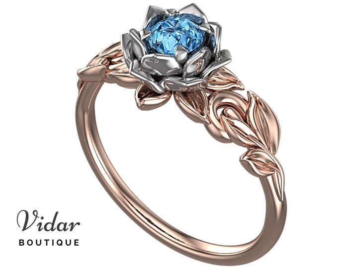 Blue Topaz Engagement Ring,Unique Engagement Ring,Flower Engagement Ring,Lotus Engagement Ring,Floral Engagement Ring,Leaves Engagement Ring by VidarBoutique on Etsy