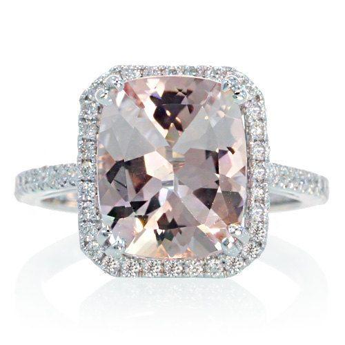 White Gold 11x9 Cushion Cut Diamond Halo Solitaire Morganite Engagement Ring Wedding Anniversary Gemstone Ring. $1,350.00, via Etsy.